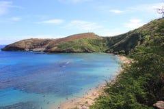 Waikiki, Hawaï, bergen en stranden stock afbeeldingen
