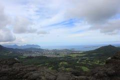 Waikiki, Hawaï, bergen en stranden stock foto