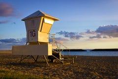 Waikiki Hawaï de coucher du soleil de plage photos libres de droits