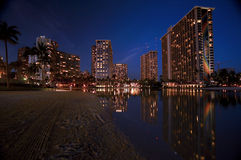 Waikiki, Hawaii at night Stock Photo
