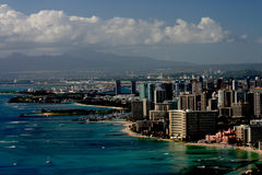 Waikiki and Honolulu. A bird's eye view of waikiki, honolulu, and the ocean Stock Photo