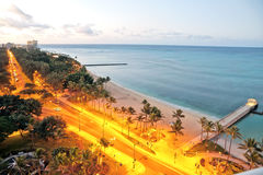 Waikiki Honolulu beach view early morning sunrise Stock Photo