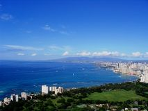 Waikiki and Honolulu cities. View of Waikiki and Honolulu cities and shorelines in Hawaii from the top of Diamondhead mountain Stock Image