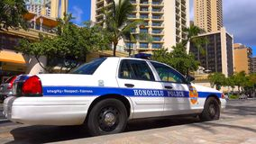 WAIKIKI, HONOLULU - HAWAII - Honolulu Police Department police car parked in Waikiki on August 2018 in Honolulu, Hawaii, USA. The royalty free stock photography