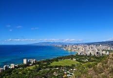 Waikiki Honolulu Oahu Diamond Head immagine stock libera da diritti