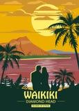Waikiki island of O ahu Retro Vintage style travel poster or sticker. Tropical island paradise couple of lovers sunset stock illustration