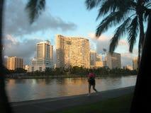 Waikiki jog. Jogger on ala wai canal, waikiki, oahu, hawaii Royalty Free Stock Photos