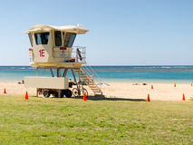 Waikiki Lifeguard Hut. With safety cones placed Stock Photos