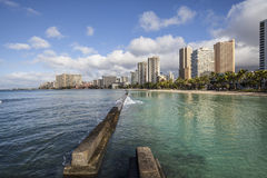 Waikiki Morning at the Breakwater Stock Photos
