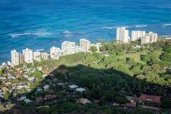 Waikiki nimmt Diamond Head Zuflucht Stockbilder