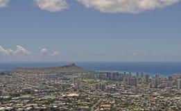 Waikiki och Diamond Head från Tantalus arkivbilder