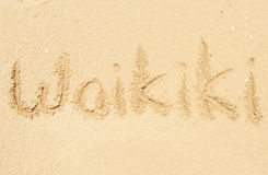 Waikiki. A picture of the word Waikiki drawn in the sand Stock Photos