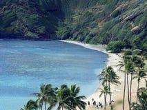 Waikiki - praia branca do azul da areia fotografia de stock royalty free