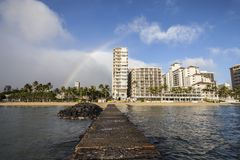 Waikiki Rainbow Jetty Stock Photo