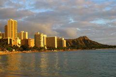 Waikiki Shore and Diamond Head Stock Photography
