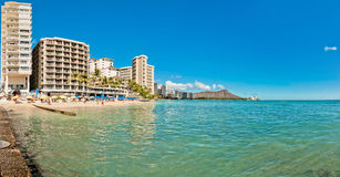 Waikiki shoreline in Honolulu Stock Photography