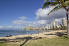Waikiki Skyline and Beach Royalty Free Stock Photography