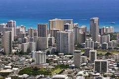 Waikiki skyline in hawaii Stock Photos