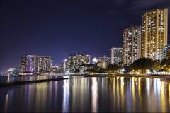 Waikiki Skyline at Night Royalty Free Stock Image