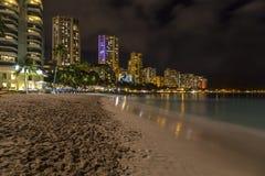 Waikiki Skyline at Night Royalty Free Stock Photography