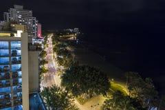 Waikiki Skyline at Night Stock Image