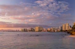 Waikiki Skyline at Sunset Stock Photography