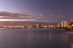 Waikiki Skyline at Sunset Royalty Free Stock Photos
