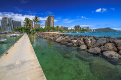 Waikiki strandhorisont Fotografering för Bildbyråer