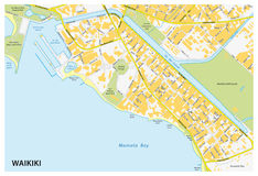 Waikiki street map Stock Image