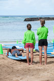 Waikiki surf lessons Royalty Free Stock Photo