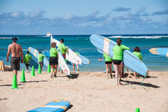 Waikiki surf lessons Royalty Free Stock Photos