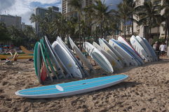 Waikiki surfboards stack. In afternoon light. Landscape orientation Stock Photography