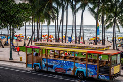 Waikiki Trolley Shuttle Bus Royalty Free Stock Image