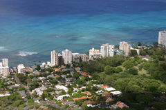 Waikiki Beach. View of Waikiki, Hawaii from Diamond Head Crater Royalty Free Stock Photography