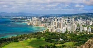 Waikiki und Einfassungen von Diamond Haed Lookout, Hawaii stockbilder