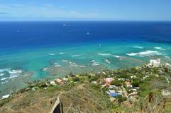 Waikiki visto de Diamond Head fotos de archivo