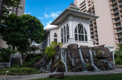 Waikiki wedding chapel. Beautiful wedding chapel on Waikiki Beach, a popular place for destination weddings Royalty Free Stock Images