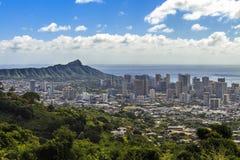 Waikiki y Diamond Head Foto de archivo libre de regalías