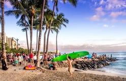Waikikistrand bij zonsondergang Royalty-vrije Stock Afbeelding