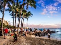 Waikikistrand bij zonsondergang Royalty-vrije Stock Fotografie