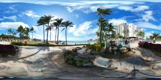 Waikikistrand 360 vr sferisch beeld stock foto's