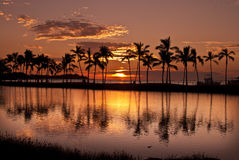 Waikoloa Sunset at Anaeho'omalu Bay Royalty Free Stock Image