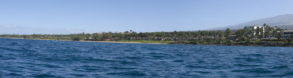 Wailea Ocean Shore Panorama Royalty Free Stock Image