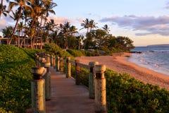 Wailea strandgångbana, Maui Hawaii Arkivfoton