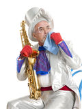 Wailful magician with a trumpet Royalty Free Stock Photography