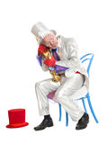 Wailful magician with a trumpet Stock Image