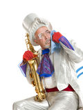 Wailful magician with a trumpet Royalty Free Stock Image