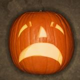 Wailing jack-o'-lantern. Stock Photo
