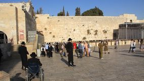 The Wailing Place of the Jews. Wailing Wall. Western Wall in Jerusalem, Israel stock footage