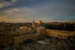 Wailing wall and Al Aqsa in Jerusalem, sunset view Royalty Free Stock Image